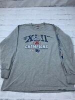 NFL Mens 2007 New England Patriots Champions Football Team Gray Sweatshirt Sz M