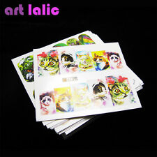 50 Cute Cat Doggy Rabbit Decals Water Transfer Nail Art Stickers Tips Decoration