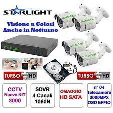 KIT VIDEOSORVEGLIANZA VISIONE NOTTURNA A COLORI  DVR H264 PLUS + 4 3000MPX + HD