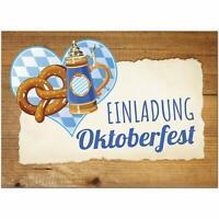 15 Einladungskarten Einladung Oktoberfest Umschläge Motiv rustikal Brezel blau