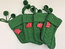 "4 Green cable knit 8"" Stockings Teacher Party Supply Fireplace Santa gift"