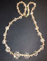 Beautiful Gold Tone Faceted Clear Cut Crystal Beaded Art Deco Necklace Vintage