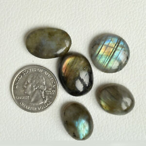 100 Ct Natural Rainbow Labradorite Oval Cabochon Loose Gemstones Lot 5 Pcs