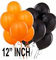 50 latex balloons orange and black for Halloween helium or self 12 inch Balloons