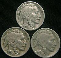 1935 1936 1937 5c Indian Head Buffalo Nickel (3) Three Coin Lot Set Circulated
