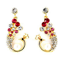Vintage Art Deco oro e cristallo rosa pavone orecchini