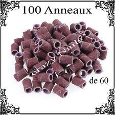 100 ANNEAUX EMBOUTS Grain 60 pour PONCEUSE A ONGLES EMERI Limes Nail Manchons
