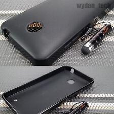 For Nokia Lumia 635 Black TPU Matte Gel Case Slim Thin Cover w/ Stylus