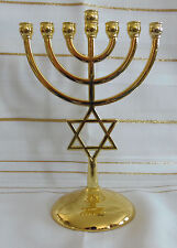 Jewish Star of David 7 Branch Gold Temple Menorah  - 7 Inches Tall