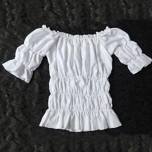 Women Victorian White Vintage Lolita Blouse Shirt Top Reenactment Fancy Dress