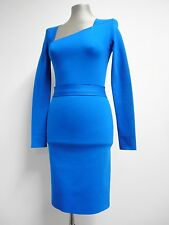 "Stunning Roland Mouret dress bright blue stretch asymmetrical bodycon 32""B S UK8"