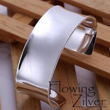 New 925 Sterling Silver Bracelet Bangle Wide Heavy Cuff Plain Broad Chunky  SP