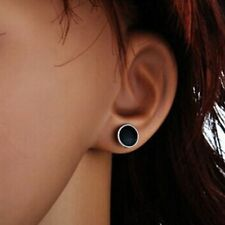 Black Ear Stud Women Round Korean Men Earrings Jewelry Gift Silver Plated