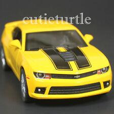 Kinsmart 2014 Chevrolet Camaro Ss 1:38 Diecast Toy Car Yellow with Black Stripes