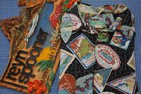 VTG REYN SPOONER HAWAIIAN ALOHA SHIRT HOTEL LABEL STICKERS L LARGE RAYON