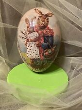 Vintage Nestler Large 7 1/2� paper mache egg with rabbits made in Germany