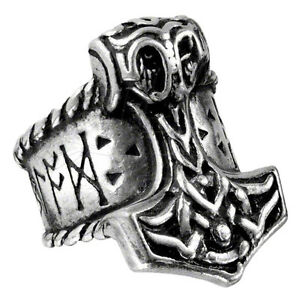 Offiziell Alchemy Gothic Thors Runenhammer Zinn Ring - Silber Band Neu Größe