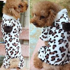 Fashion Leopard Warm Winter Pet Dog Puppy Clothes Hoodie Jumpsuit Pajamas Surpri