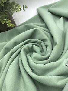 2 Metres Sage Green Scuba Crepe Fabric