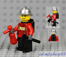 LEGO - Firefighter Minifigure Silver Helmet & Fire Extinguisher Axe Male Chief