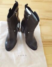 Zara Botines con Hebillas De Cuero Marrón Oscuro Nuevo UK 6 EU 39