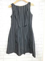 Cue Fit & flare dress Black, grey stripe Sz 10 Sleeveless Exposed zip
