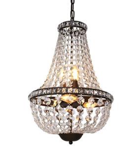 "Crystal Chandelier Pendant Light 13.5"" Antique Bronze Bedroom Dining Living"
