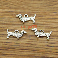50 Dachshund Charm Dog Canine Puppy Animal Metal Charms Antique Silver 19x9 3150