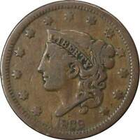 1838 1c Coronet Head Large Cent Penny Coin F Fine
