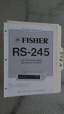 Fisher rs-245 service manual original repair book stereo receiver tuner radio