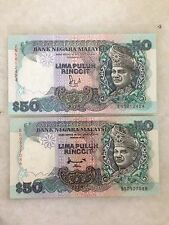 (JC) 2 pcs RM50 6th & 7th series (ZN5812424 & BS0927088)  pair UNC