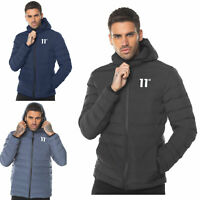 11 Degrees Mens New Full Zip Hooded Padded Winter Jacket Black Navy Grey Space