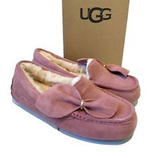 Women's UGG Slippers UK Size 6 Pink Ansley Twist Bow Suede Slip on Boxed
