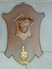ANTIQUE BLACK FOREST CARVED WOOD DOG HEAD HALL COAT HANGER BRONZE HOOK