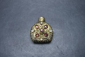 VTG Czech Art Deco Clear Glass Purple Stones Mini Perfume Bottle with Dauber