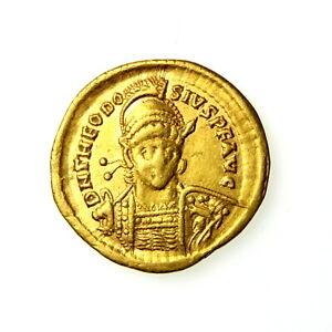 Theodosius II Gold Solidus 402-450AD Constantinople ** PR780E