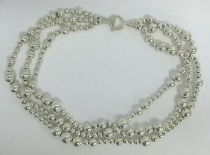 Tiffany &Co Sterling Silver Torsade Necklace Three Strand Bead Ball Toggle Clasp