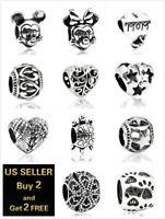European Silver Charms Zircon Spacer Bead Pendant Fit 925 Sterling Bracelet