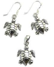 Parure Boucles d'Oreilles+Pendentif en Argent 925 Bijoux Tortue jewel turtle