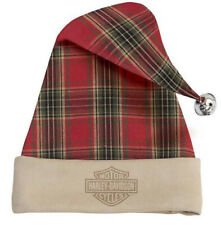 Harley-Davidson Antique White & Red Plaid Christmas Holiday Santa Hat HDX-99189