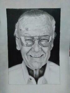 Fan Art Stan Lee 9x12 Portrait Art Drawing