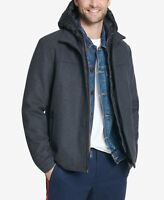 Tommy Hilfiger mens Wool Blend Jacket With Puffer Bib and Hood Large Charcoal