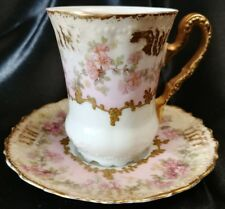 Limoges Demitasse Cup & Saucer Heavy Hand Enameled gold and Roses c.1900