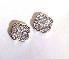 Cute! Solid 10K White and Yellow Gold Pave CZ Crystal Clover Flower Earring Stud