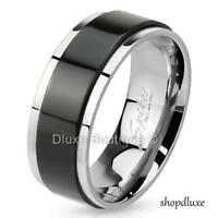 Men's 8mm Solid Stainless Steel 316L Black IP Spinner Comfort Fit Ring Band