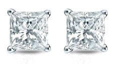 1 Ct Princess Diamond Stud Earring 14K White Gold Solitaire Women Stud Earrings