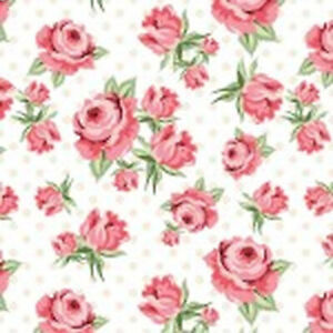 Poppie Cotton Dots & Posies  White Prize Roses DP20400  fabric Pink