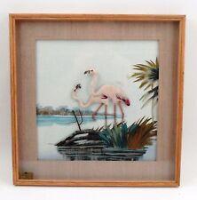 CAC Feather Art Tropical Pink Flamingo Flamingos Framed 3D Shadowbox Wall Art