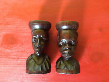 Wooden Handcarved African Tribal Man & Woman Candle Holder Sculptures