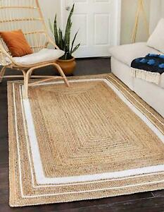 Jute Rug 100% Natural Braided Rectangle Floor Rugs Modern Look Carpet Area Rug